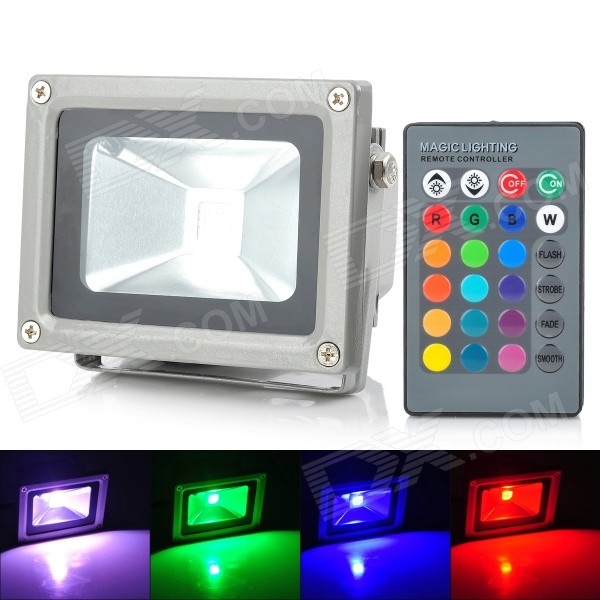 Buy 10W 900lm RGB LED Projection Lamp / Flood Light - Black + Silver (85~265V) with Litecoins with Free Shipping on Gipsybee.com