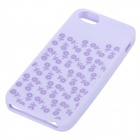 Stilig Floral mønstret anti-slip fleksibel silikon tilbake Case for IPHONE 5 / 5S - lys purpur