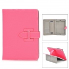 Lichee Pattern Protective PU Leather Case for IPAD MINI - Deep Pink