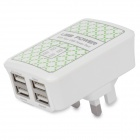 iCharger 0043 5V 3500mA USB 4-Port UK Plug Power Charging Adapter - Green + White