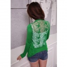 New Hollowed Butterfly Pattern Back Long Sleeve Sweater - Green (Free Size)
