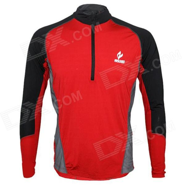 ARSUXEO AR600 Outdoor Sports Running Quick-dry Long Sleeves Jersey for Men - Red + Black (Size L)
