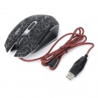 WOYE The Dragon Sword V8 USB 2.0 Wired 600 / 1000 / 1600dpi Optical LED Gaming Mouse - Blackish Grey