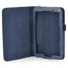 Lichee Pattern Protective PU Leather Full Body Case w/ Stand for Toshiba WT8 - Deep Blue