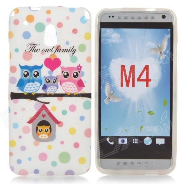 Cartoon Cartoon Owl modello TPU caso posteriore per HTC One Mini / M4 / 601e - Bianco + rosa