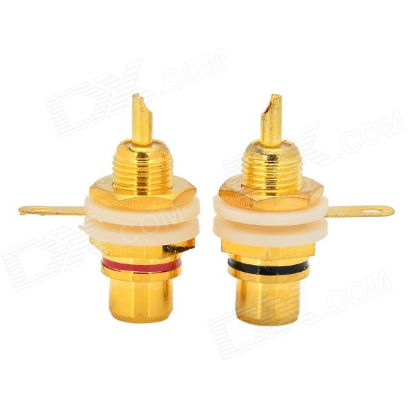 Gold Plated Audio Terminal RCA Connector - GoldenAV Adapters And Converters<br>Form ColorGoldenBrandWLXYModelWL-115MaterialPure copper plating goldQuantity1 DX.PCM.Model.AttributeModel.UnitShade Of ColorGoldCable Length? DX.PCM.Model.AttributeModel.UnitConnectorRCAPower AdapterOthers,UniversalPower SupplyNoCertificationNoOther FeaturesMade of high quality material, fine work manship and durable.Packing List2 x RCA connectors<br>