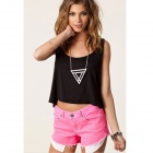 WS-2626 Stylový Bavlna rukávů V-Neck Heart-Shaped Hollow Back Short T-shirt - Black (M)