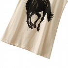 Black Horse Running Pattern Printed Round Neck Sleeveless Women's T-shirt - Beige + Black (Size-M)