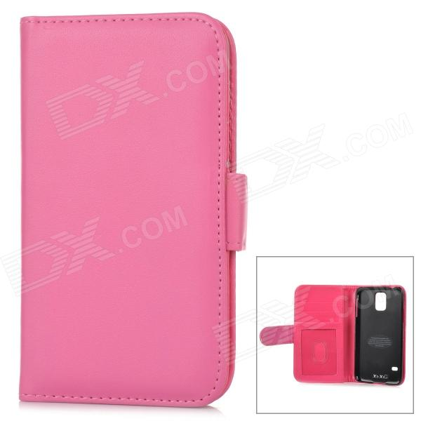 Stylish Flip-open Sheep Skin Case w/ Card Slot for Samsung Galaxy S5 - Deep PinkLeather Cases<br>Form  ColorDark PinkBrandN/AModelN/AMaterialSheep skinQuantity1 DX.PCM.Model.AttributeModel.UnitShade Of ColorPinkCompatible ModelsSamsung Galaxy S5Packing List1 x Case<br>