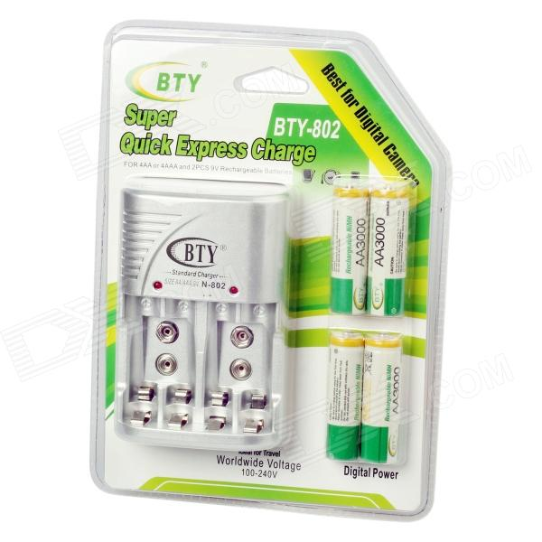 BTY 802 Super Quick Express EU Plug 4-Slot 9V / AA / AAA Battery Charger w/ 4-AAA 1000mAh Batteries