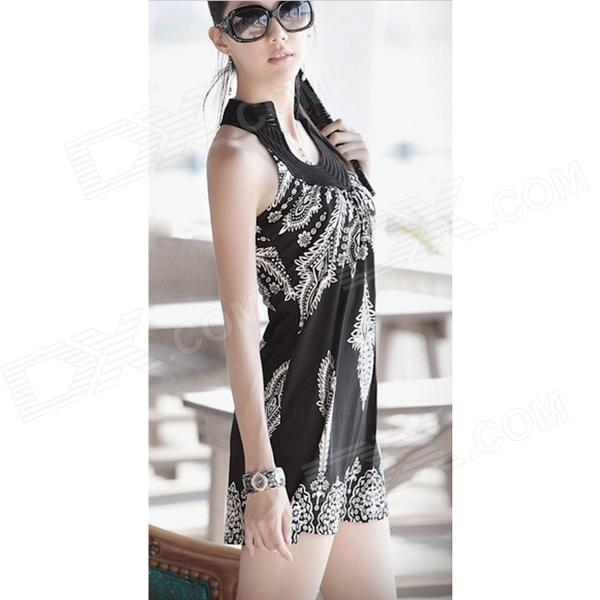 Women's Stylish Patterned Viscose Dress - Black + White