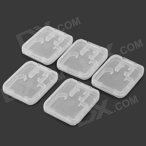 Buy TF / SD / Micro SD Card Plastic Box - Translucent White (5PCS) with Litecoins with Free Shipping on Gipsybee.com