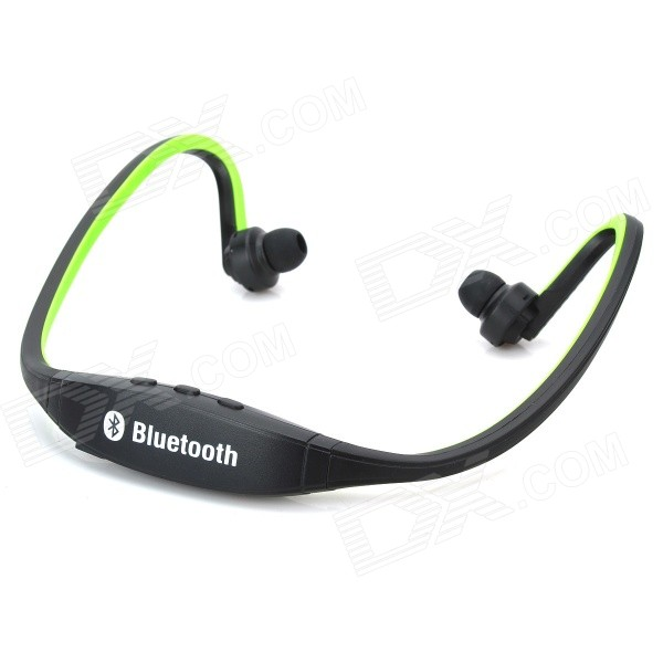 Rechargeable Sport Music Bluetooth V3.0 Headset w/ Mic - Black + GreenHeadphones<br>Form  ColorBlack + GreenMaterialPlasticQuantity1 DX.PCM.Model.AttributeModel.UnitShade Of ColorBlackEar CouplingNeckbandBluetooth VersionBluetooth V3.0Operating Range5~8MRadio TunerNoMicrophoneYesSupports MusicYesConnects Two Phones SimultaneouslyNoApplicable ProductsIPHONE 5,IPHONE 4,IPHONE 4S,IPHONE 3G,IPHONE 3GS,IPHONE 5S,IPHONE 5CBuilt-in Battery Capacity 150 DX.PCM.Model.AttributeModel.UnitBattery TypeLi-ion batteryTalk Time5 DX.PCM.Model.AttributeModel.UnitMusic Play Time4HStandby Time100 DX.PCM.Model.AttributeModel.UnitPacking List1 x Bluetooth earphone 1 x USB cable (50cm)<br>