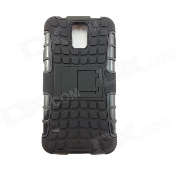 Protective Plastic + Silicone Back Case w/ Stand for Samsung Galaxy S5 - Black