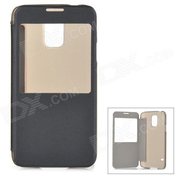 ABS + PU Leather Case w/ Display Window for Samsung Galaxy S5 - Black + Translucent Black