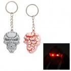 Cool Skull Style Keychain w/ Red LED Light - Pink + Grey (2 PCS / 2 x CR2032)
