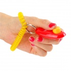 Dog Pet Button Clicker Trainer Training Aid Guide - Yellow + Red