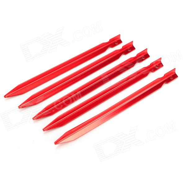 SY-09 Handy Durable Prism Shape Aluminum Alloy Tent Peg for Camping - Red (5 PCS)