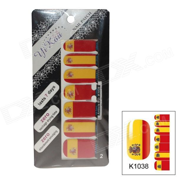 K1038 World Cup Spanien Flagge Design Nail Sticker