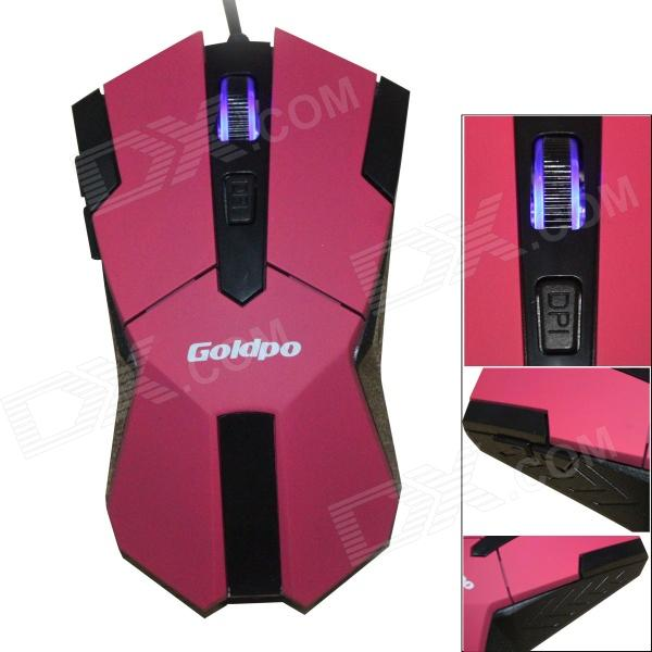 GOLDPO X-905 Wired USB 2400DPI Gaming Mouse w/ 4-Speed - Red + Black