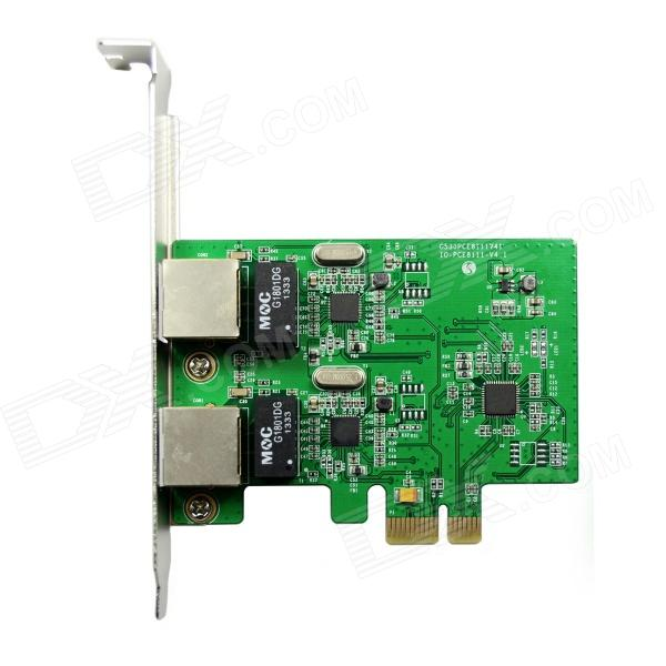 Buy IOCREST IO-PCE8111-2GLAN PCI-Express Dual Gigabit Ethernet Controller Card RTL8111 Chipset - Green with Litecoins with Free Shipping on Gipsybee.com