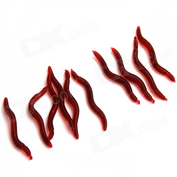 Realistic Practical Joke Gadgets Earthworms Fishing Lures - Reddish Brown (30 PCS)
