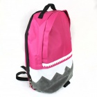 Sawtooth Zippered Canvas Backpack Bag - Pink