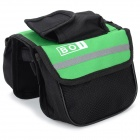 BOI 12850 Universal Polyester Outdoor Cycling Bike Top Tube Double Bag - Black + Green