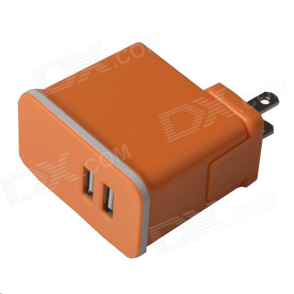 Avtagbar Universal Compact Dual USB AC Power lader Adapter - Orange (100 ~ 240V / US Plugger)