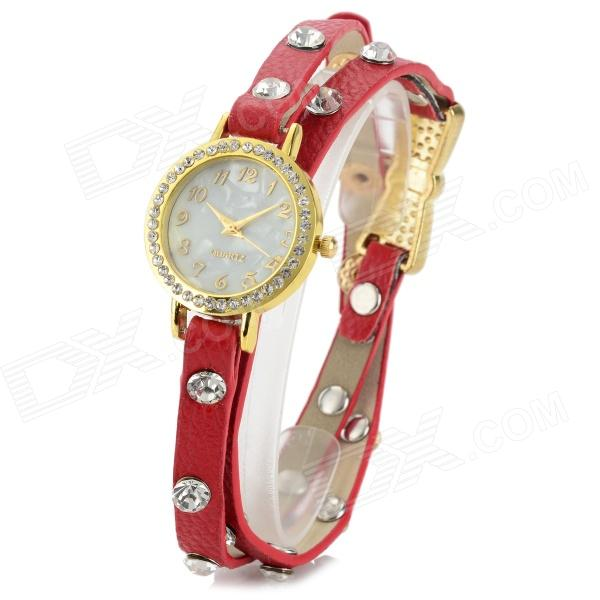 Retro Aluminium Alloy Case PU Leather Band Quartz Analog Armbåndsur for kvinner - Rød + Gull