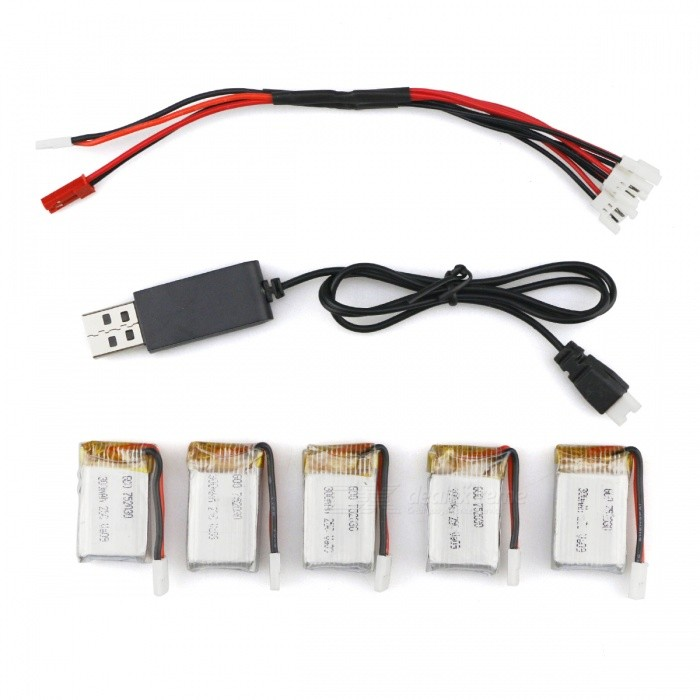 HA BO SEN H107C-002 5 x 3.7V 300mAh Batteries + Charging Cable + USB Cable for R/C Helicopter
