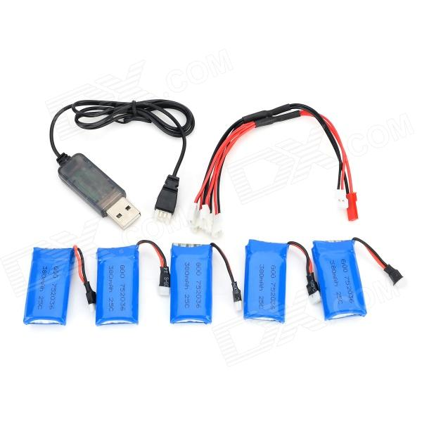 HA BO SEN H107C-004 5 x 3.7V 380mAh Batteries + Charging Cable + USB Cable for R/C Helicopter