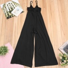 JM8105 Sexy Dacron + Spandex V-Neck Strap Jumpsuit Hakama Dress - Black