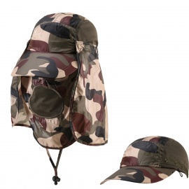 Outdoor-UV-Protection-Cotton-Large-Brimmed-Hat-w-Neck-Protection-Camouflage