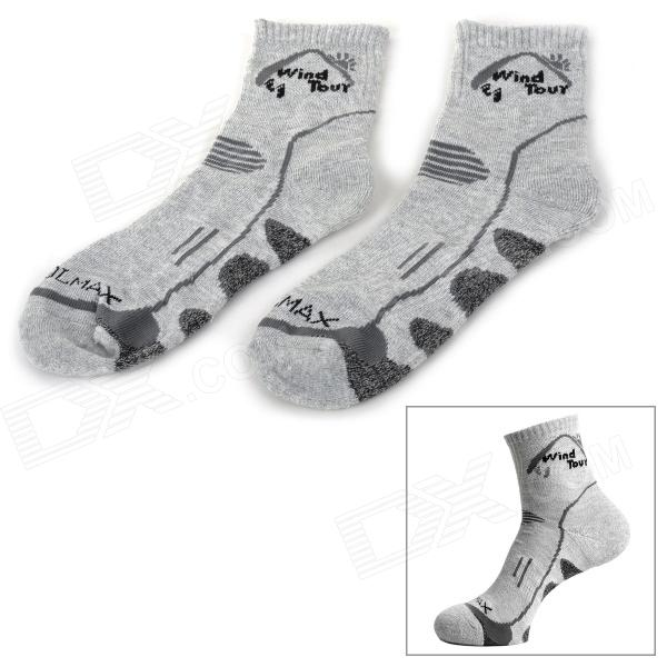 Buy Wind Tour WT90301 Men's Cotton + Polyester Fiber Breathable Quick-Dry Sports Socks - Grey with Litecoins with Free Shipping on Gipsybee.com