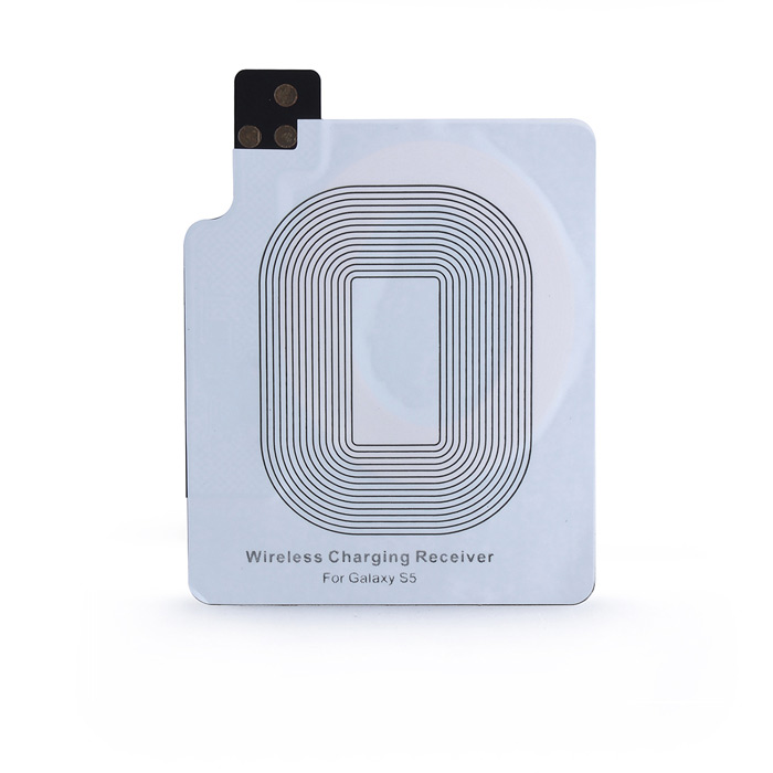 Qi Wireless Charging Receiver for Samsung Galaxy S5 - WhiteWireless Chargers<br>Form  ColorWhiteMaterialPlasticQuantity1 DX.PCM.Model.AttributeModel.UnitCompatible ModelsSamsung Galaxy S5Other FeaturesIt is specially designed for Samsung Galaxy S5. Ultrathin design, compact and lightweight without increasing additional weight of the S5. Adding wireless charging feature by piggybacking it on the battery of S5, it works well with any Qi-enabled charger. Easy to use. The receiver can be attached to the battery all the time, and it would not interrupt the normal use of the S5. Step 1: Open the back cover of Samsung Galaxy S5; Step 2: Stick the receiver card to the mobile phones battery and the protuberant touch points must touch the recesses next to the battery; Step 3: Close the back cover; Step 4: Place the mobile phone onto the Qi wireless charging pad (the phone and the Qi wireless charging pad are not included).Executive StandardQiShade Of ColorWhiteTypeOthers,ReceiverInput Voltage5 DX.PCM.Model.AttributeModel.UnitOutput Current650 DX.PCM.Model.AttributeModel.UnitPower AdapterWithout Power AdapterPacking List1 x Qi Wireless Charging Receiver for S5<br>