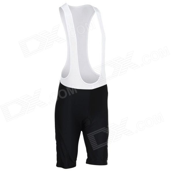 TOP CYCLING SAK206 Outdoor Cycling Polyester + Spandex Bib Shorts - Black + White (L)