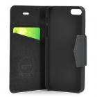 Protective Flip-open PU + ABS Case w/ Holder + Card Slot for IPHONE 5 / 5S - Black