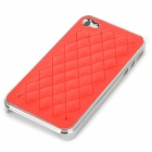 cqda Stylish Rhombus Pattern Protective Back Case for IPHONE 4 / 4S - Red