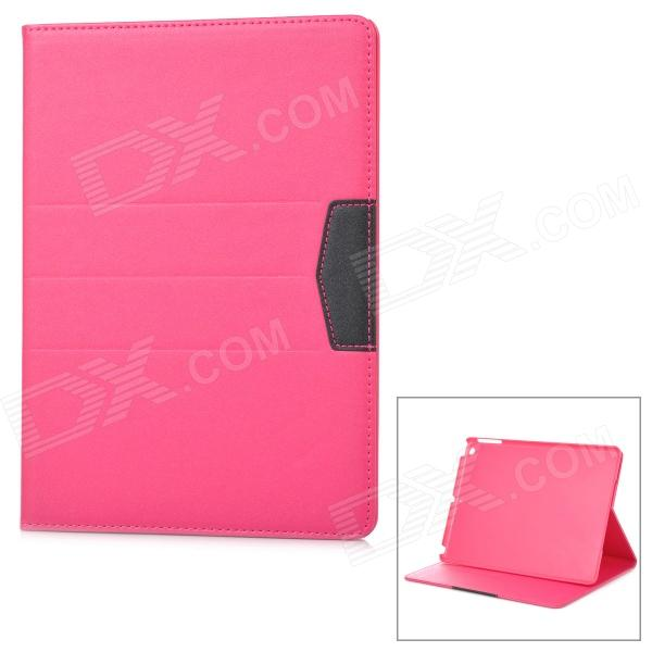 Protective Flip Open PU Case w/ Stand / Auto Sleep for IPAD AIR - Deep Pink + Black