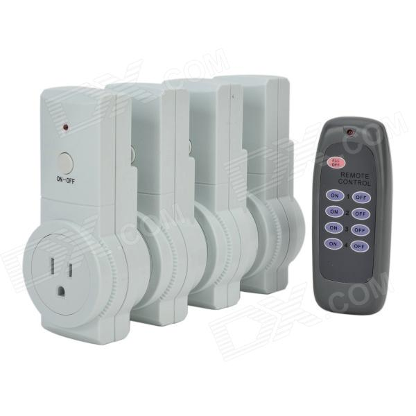 Tai Shen TS-868 US Plugs-in Power Sockets with Remote Control Switch - White (4 PCS)