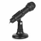 Power-Free 3.5mm 5ohm Desktop Microphone for Multi-media / Computer w/ Stand Holder - Black