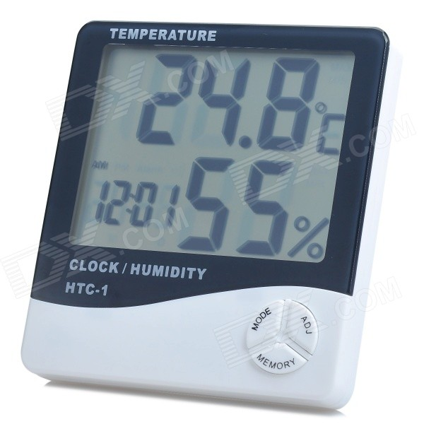 LCD Digital Clock Thermometer and Humidity Meter - White (-10 - +50 Degrees Celsius)