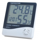 LCD Digital Clock Thermometer and Humidity Meter - White (-50~+70C)
