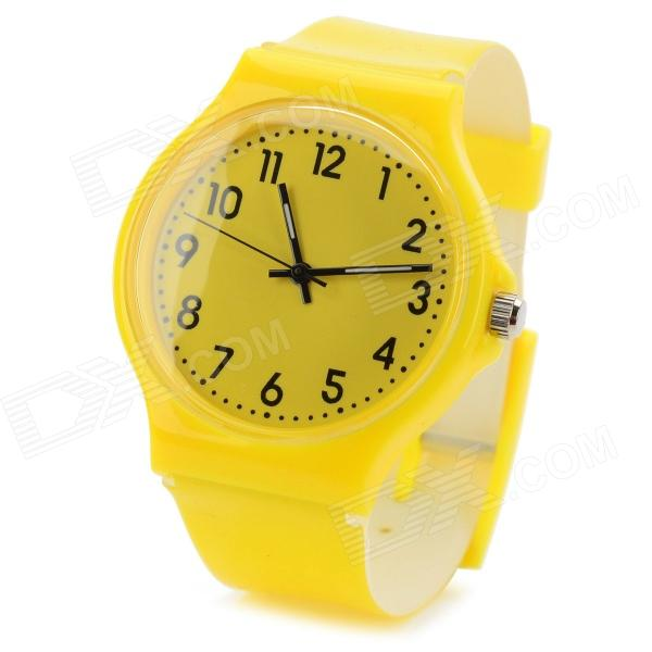 S50G Casual PVC Wristband Analog Quartz Sport Wrist Watch - Yellow (1 x SR626SW)Quartz Watches<br>Form ColorYellowModelS50GQuantity1 DX.PCM.Model.AttributeModel.UnitShade Of ColorYellowCasing MaterialPVCWristband MaterialPVCSuitable forAdultsGenderUnisexStyleWrist WatchTypeCasual watchesDisplayAnalogMovementQuartzDisplay Format12 hour formatWater ResistantFor daily wear. Suitable for everyday use. Wearable while water is being splashed but not under any pressure.Dial Diameter3.3 DX.PCM.Model.AttributeModel.UnitDial Thickness1 DX.PCM.Model.AttributeModel.UnitWristband Length23 DX.PCM.Model.AttributeModel.UnitBand Width1.8 DX.PCM.Model.AttributeModel.UnitBattery1 x SR626SW, included.Packing List1 x Watch<br>