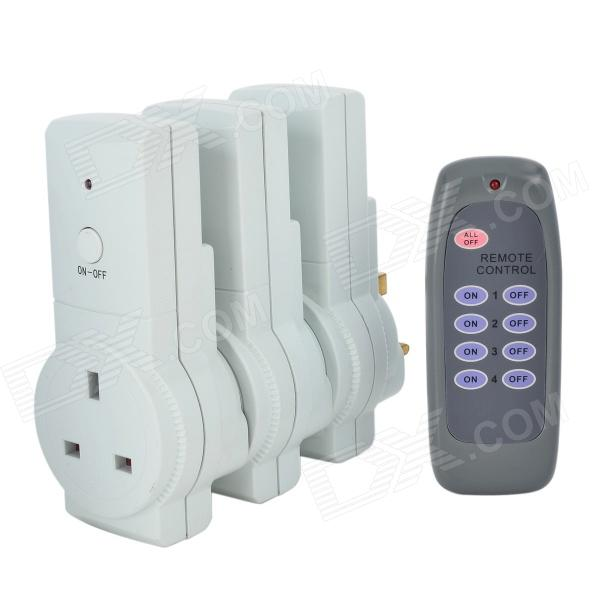 Tai Shen TS-868 3-in-1 230V 13A 2900W UK Plug Remote Controlled Smart Home Sockets Set - White