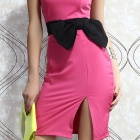Fashion Bow-knot Side up Strapless Party Dress - Deep Pink (Size M)