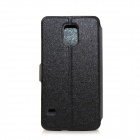 Flower Show Protective PU Leather Case Cover Stand for Samsung Galaxy S5 - Black