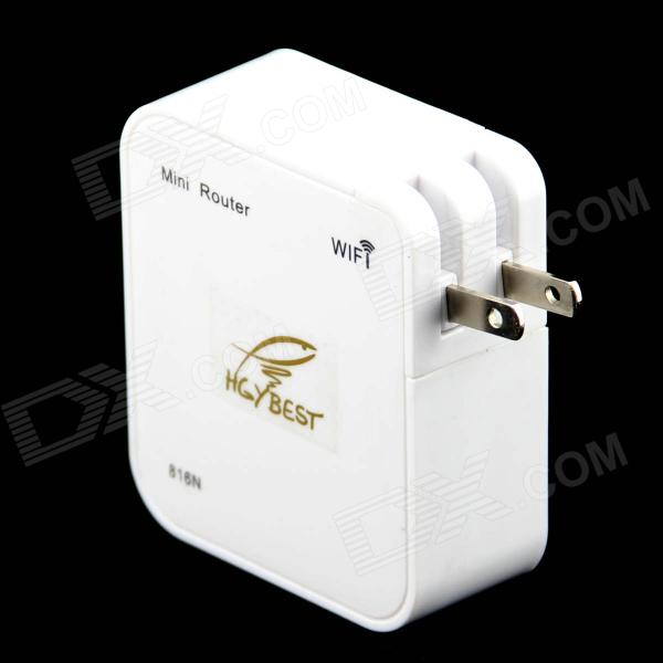 HGYBSET Mini 2.4GHz Wi-Fi 150Mbps Wireless Router - White (2-Flat-Pin Plug)
