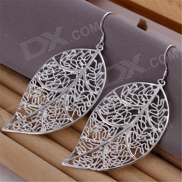 Women's Fashionable Leaf Shaped Silver Plated Earrings - Silver (Pair)